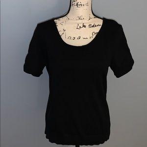 RALPH LAUREN silk short scrunch sleeve L sweater